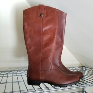 NWT Women's Brown Leather Boots (Cognac)